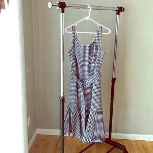 J Crew Gingham Tie Waist Flare Dress